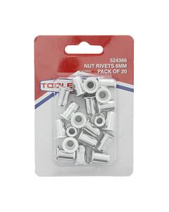 Toolex 000670-20PACK Nut Rivet Insert 6mm 20 Pack