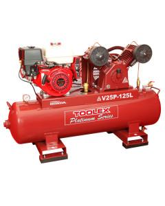 Air Compressor V25PES-125L 9Hp Petrol Honda Fusheng Pump VA80 125L Tank Electric Start 145Ps
