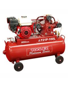 Air Compressor T21PES-100L 6.5 Hp 100L 4 Wheel Tank Elect St art Petrol Honda Fusheng 145Ps