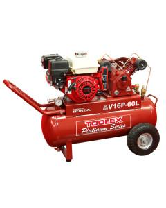 Air Compressor V16PES-60L 5.5 Hp Elect Start Petrol Honda VA 65 Fusheng Pump 60L Tank 145Ps