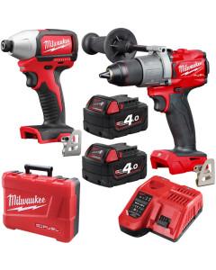 Milwaukee M18BLPP2A2-402C 2pc Cordless Tool Kit 18V Li-