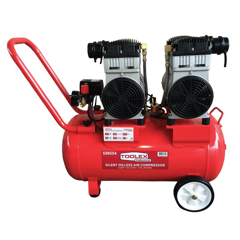 Toolex Air Compressor 3 2hp Oilless 50l Steel Tank Silent 475 L M Free Air 1440 Rpm 62dba Gaswekd